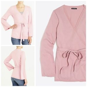 J. Crew Flare Sleeve Wrap Sweater Pale Rose